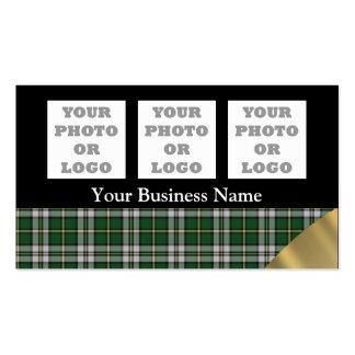 Green tartan plaid pattern company logo business card template
