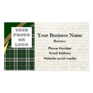 Green tartan plaid pattern photo template Double-Sided standard business cards (Pack of 100)