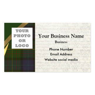 Green tartan plaid pattern photo template business card