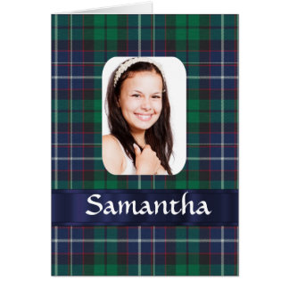 Green tartan plaid photo template greeting card