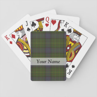 Green tartan plaid playing cards