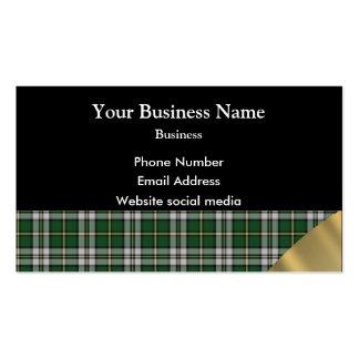 Green tartan plaidt pattern business cards