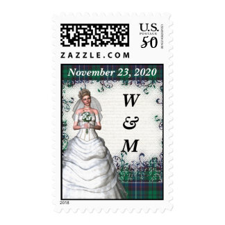 Green tartan save the date postage