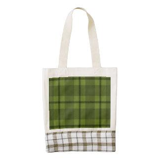 green tartan  toe zazzle HEART tote bag