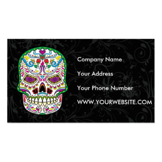 Green Tattoo Flowers Sugar Skulls Double-Sided Standard Business Cards (Pack Of 100)
