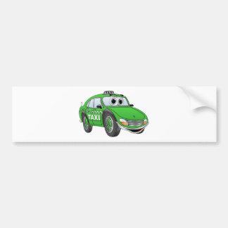 Green Taxi Cab Cartoon Bumper Stickers