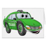 Green Taxi Cab Cartoon Card