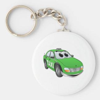 Green Taxi Cab Cartoon Key Chains