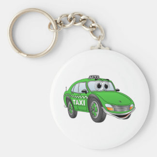 Green Taxi Cab Cartoon Keychain