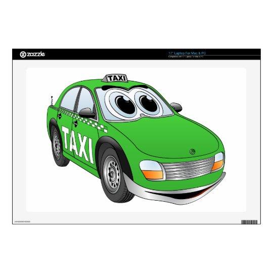 Green Taxi Cab Cartoon Laptop Decal