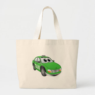 Green Taxi Cab Cartoon Large Tote Bag