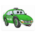 Green Taxi Cab Cartoon Postcard