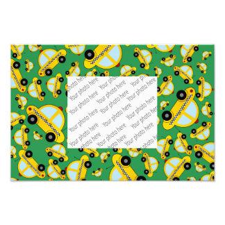 Green taxi pattern photo print