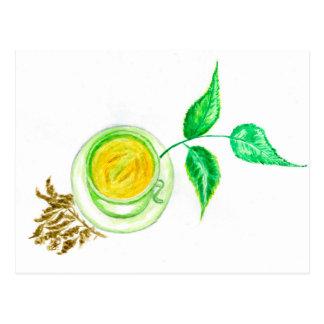 Green Tea Art Postcard