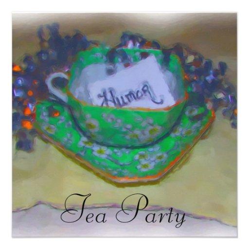 Green Tea Cup Party Invitations