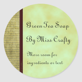Green Tea Custom Home Craft Labels Classic Round Sticker
