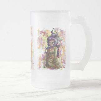Green Tea Geisha Frosted Glass Mug Frosted Beer Mug