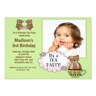 Green Tea Party Photo Birthday Party Invitation