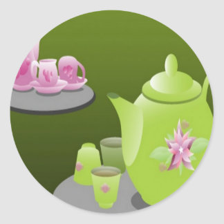 Green tea sets design classic round sticker