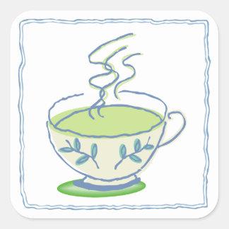 Green Tea Square Stickers