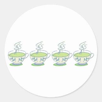 green tea teacups Stickers
