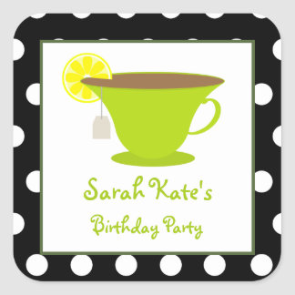 Green Teacup Polka Dot Birthday Party Stickers