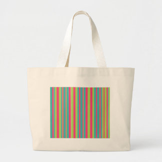 Green Teal and Pink Striped Canvas Bag