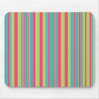 Green Teal and Pink Striped Mouse Pad