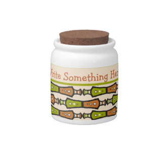 Green, Teal, Black, Cream Tribal Storage Jar Candy Dishes