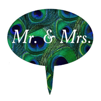 Green Teal Blue Peacock Feather Print Cake Topper