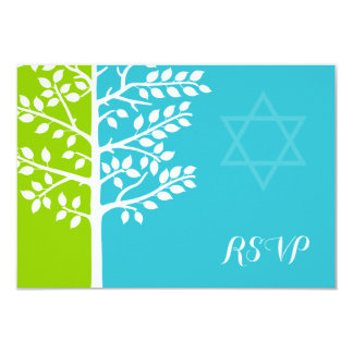 Green Teal Blue Tree of Life Bat Mitzvah RSVP Card