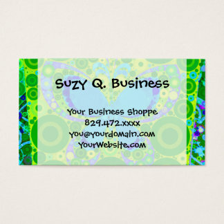 Green Teal Butterfly Concentric Circles Mosaic Business Card