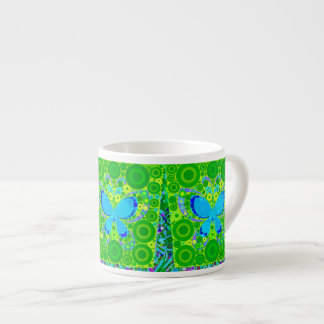 Green Teal Butterfly Concentric Circles Mosaic 6 Oz Ceramic Espresso Cup