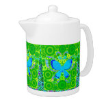 Green Teal Butterfly Concentric Circles Mosaic Teapot