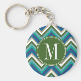 Green & Teal Chevron Pattern with Monogram Key Chains
