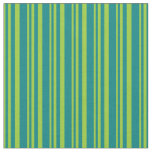 [ Thumbnail: Green & Teal Colored Stripes Pattern Fabric ]