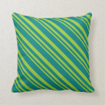 [ Thumbnail: Green & Teal Colored Stripes Pattern Throw Pillow ]