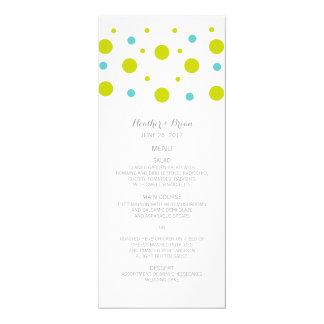 Green Teal Confetti Wedding Menu Card