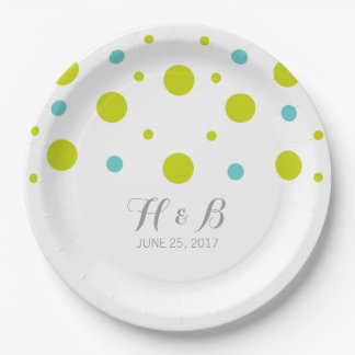 Green Teal Confetti Wedding Paper Plates 9 Inch Paper Plate