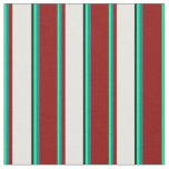[ Thumbnail: Green, Teal, Dark Red, White, and Black Pattern Fabric ]