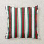 [ Thumbnail: Green, Teal, Dark Red, White, and Black Pattern Throw Pillow ]