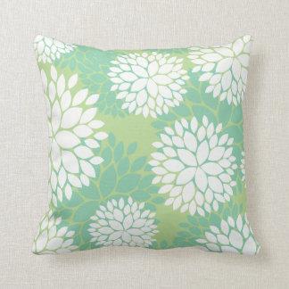 Green Teal Floral Pattern Pillows