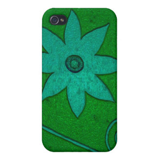 green teal flowers cases for iPhone 4