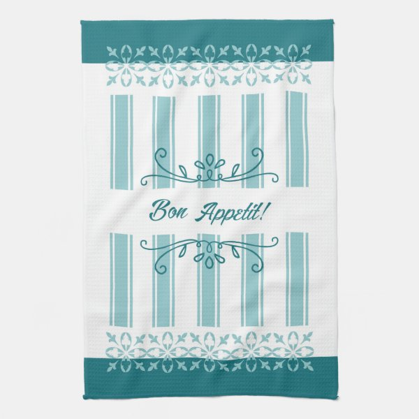 Green teal french bon appetit tea hand towel
