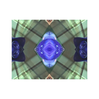 Green Teal Geometric Mod Contemporary Art Canvas