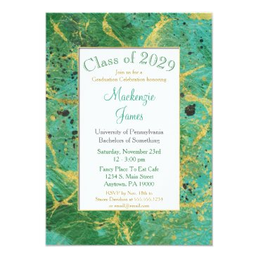 Lawyer Themed Green Teal Gold Abstract Graduation Invitation