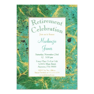 Lawyer Themed Green Teal Gold Abstract Retirement Invitation