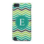Green Teal Grey Gray Chevron Monogram iPod Touch 5G Covers