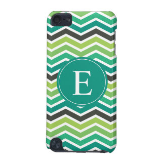 Green Teal Grey Gray Chevron Monogram iPod Touch 5G Cover