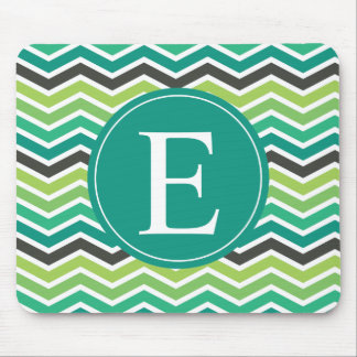 Green Teal Grey Gray Chevron Monogram Mouse Pad